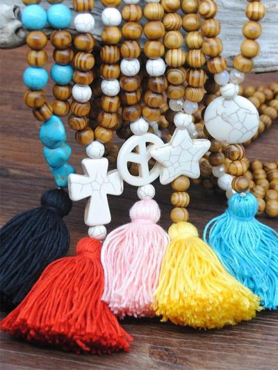 Bohemian antique wooden bead necklaces