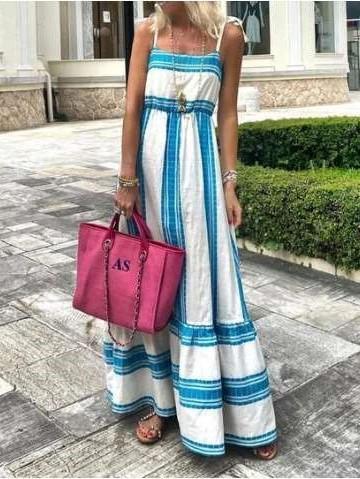 Fashion Stripe Gored One shoulder Vest Maxi Dresses