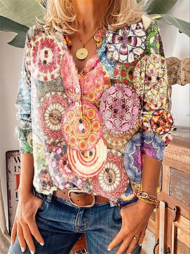 Long Sleeve Floral Floral-Print Statement Shirts & Tops