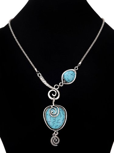 Silver plated snail heart turquoise necklace