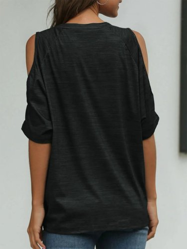 Black Casual Asymmetric Round Neck Shirts & Tops