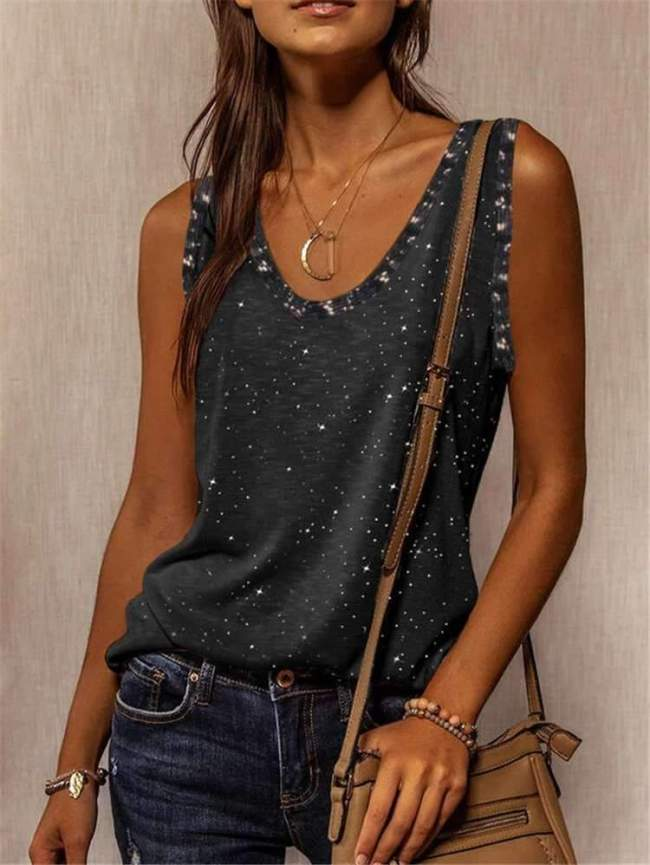 Casual Star print V neck Sleeveless T-shirt Vests