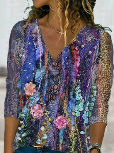 Blue Floral Shift Casual V Neck Tops T-Shirts