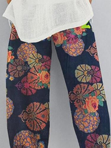 Blue Tribal Holiday Shift Printed Pants