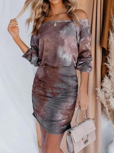 Fashion Sexy Tie-dye One shoulde Long sleeve Bodycon Dresses