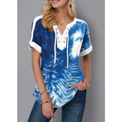 Fashion Casual Floral print V neck Short sleeve Lacing T-Shirts