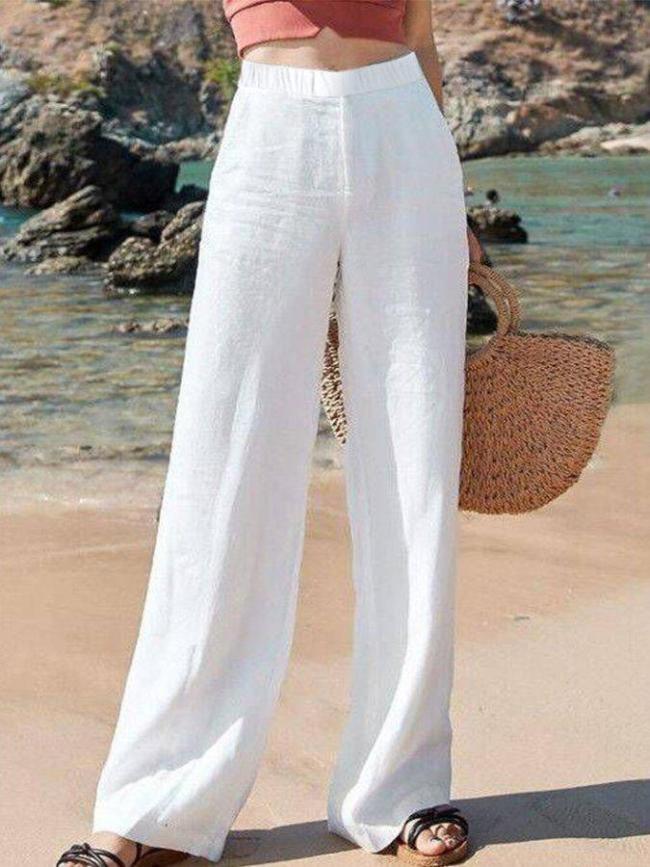 Casual Plain Loose Linen Pants