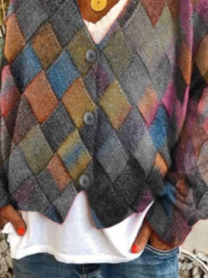 Multicolor Vintage Geometric Tops Women Colorful Cardigans