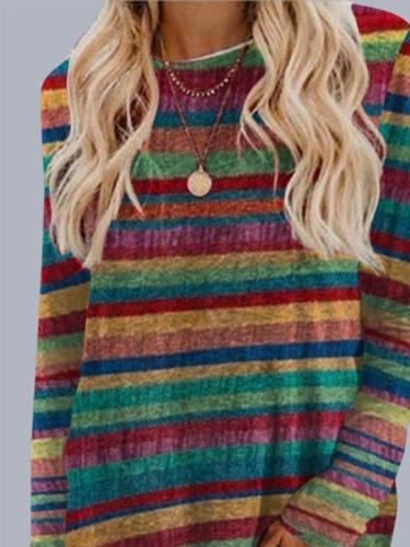 Casual Colorblock Long Sleeve Striped Printed Tops T-shirts