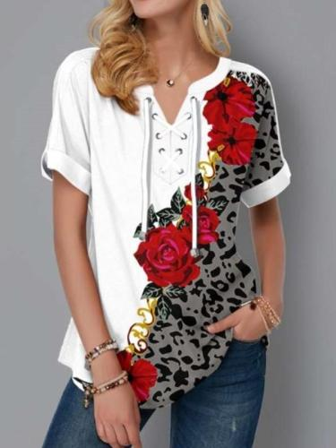Fashion Casual Floral print V neck Short sleeve Lacing T-Shirts