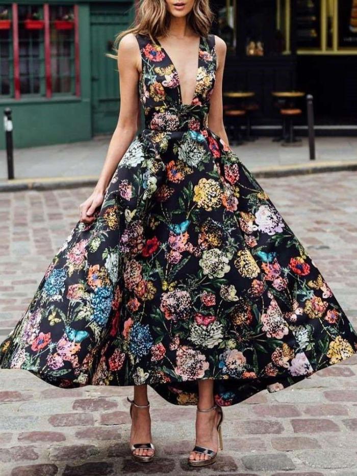 Sexy Floral print V neck Sleeveless Backless Skater Dresses