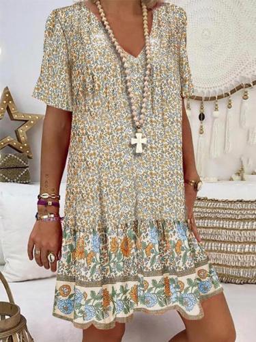 Casual Short Sleeve Floral V Neck Dresses