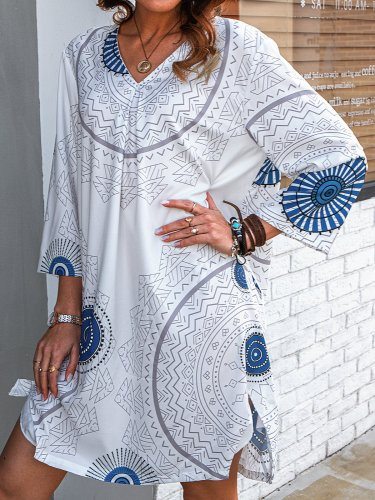 3/4 Sleeve Cotton-Blend Casual Shift Dresses