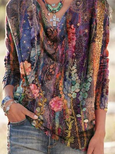 As Picture Floral Long Sleeve Vintage Tops T-shirts