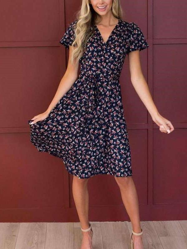Fashion Floral print V neck Short sleeve Lacing Skater Dresses