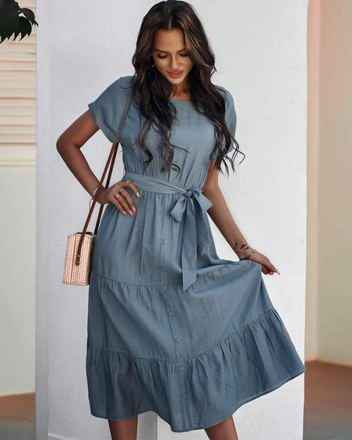 Pure Casual Round neck Short sleeve Lacing Skater Dresses