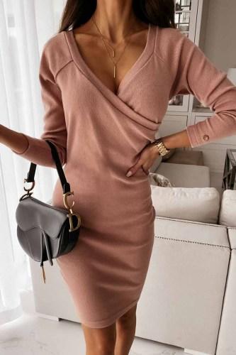 V-Neck Sexy Mocha Slim Fit Mini Dress