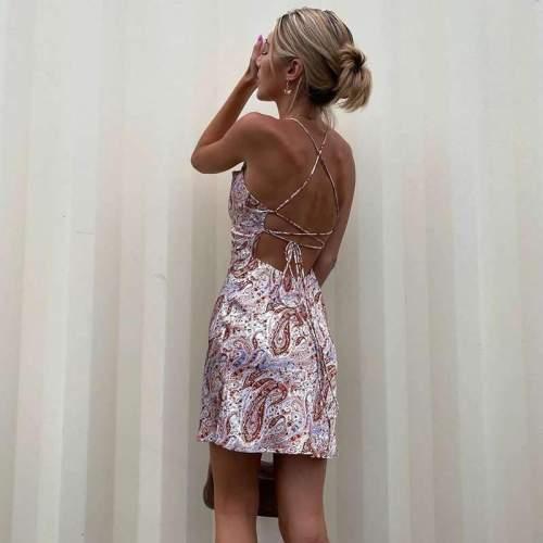Sexy One shoulder Backless Skater Dresses