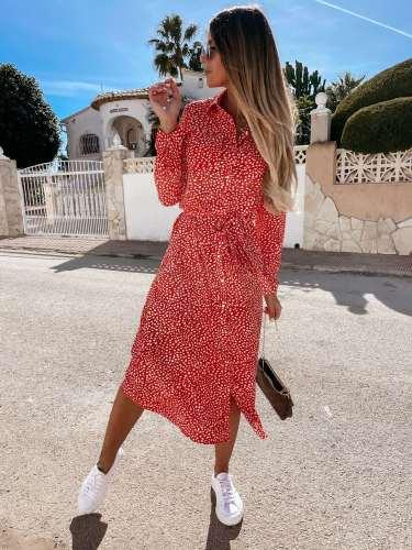 Casual Floral print Lapel Long sleeve Fastener Lacing Skater Dresses