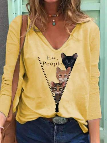 Casual Loose Cat print V neck Long sleeve T-Shirts