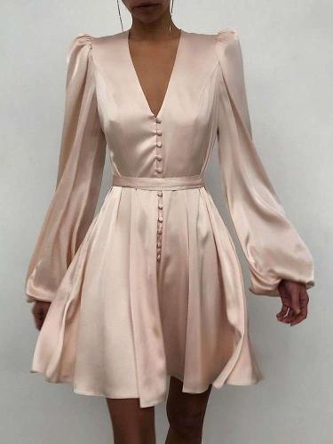 Elegant Fastener V neck Long sleeve Skater Dresses