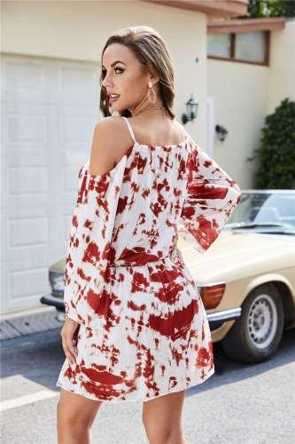 Casual Tie-dye Off shoulder Long sleeve Lacing Skater Dresses