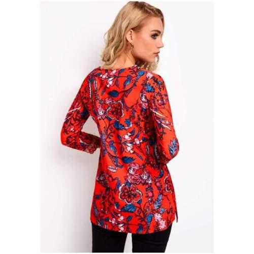 Casual Floral print V neck Three quarter sleeve T-Shirts