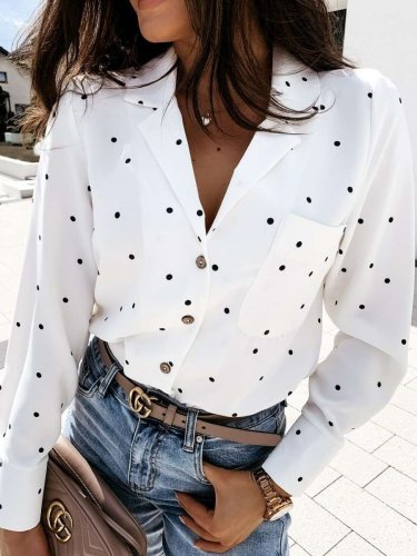 Casual Point print Lapel Long sleeve Blouses