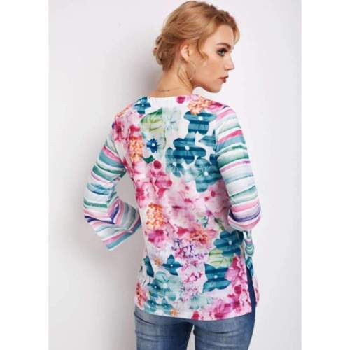 Fashion Floral print V neck Three quarter sleeve T-Shirts