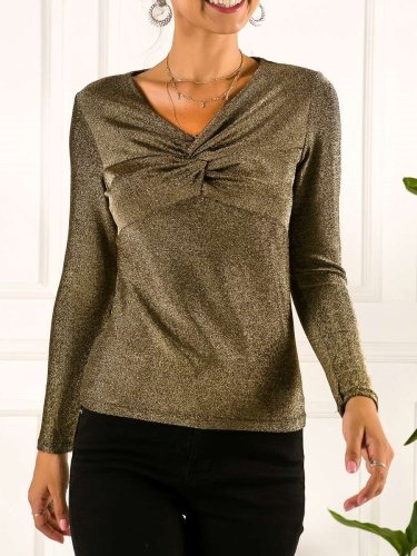 Fashion Sexy Plicated Shiner V neck Long sleeve T-Shirts