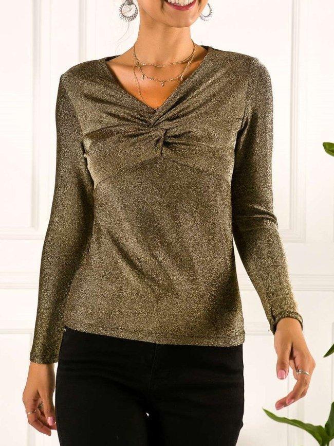 Fashion Sexy Plicated Shiner V neck Long sleeve T-Shirts