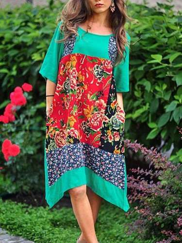Casual Loose Gored Print Round neck Half sleeve Shift Dresses