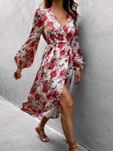 Fashion Floral print V neck Long sleeve Skater Dresses