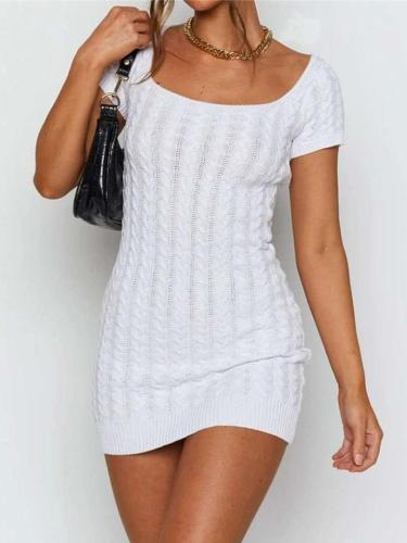 Sexy Pure Square collar Short sleeve Knit Bodycon Dresses