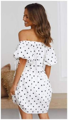 Casual Loose Point print One shoulder Short sleeve Shift Dresses