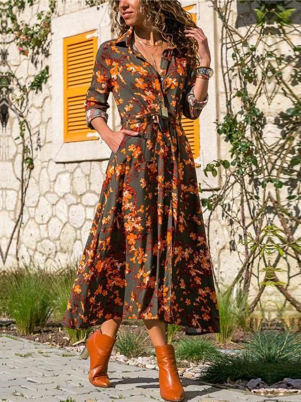 Fashion Floral print Lapel Long sleeve Lacing Skater Dresses