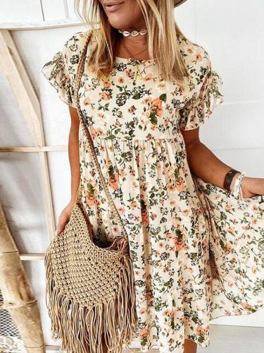 Round Neck Floral Printed Lotus sleeve Loose Shift Dresses