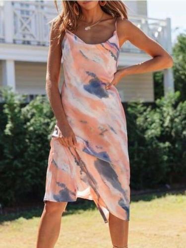Women Fashion tie-dye Vest Sleeveless Skater Dresses