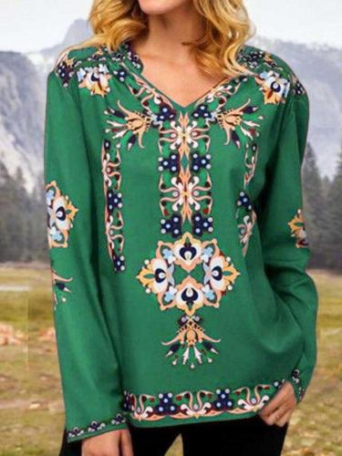 Casual Floral print V neck Long sleeve T-Shirts