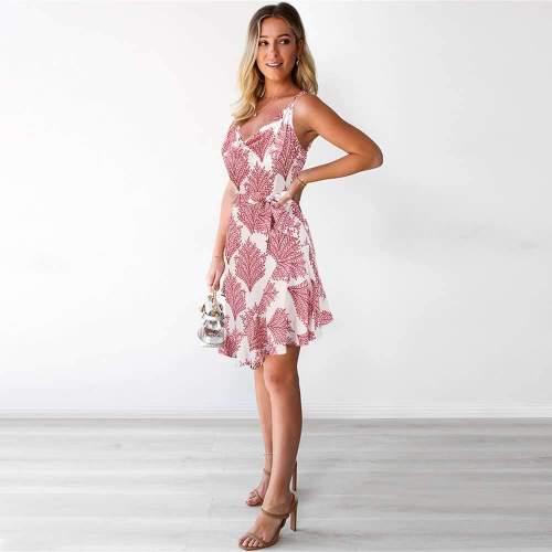 Casual Leafage print V neck Vest Sleeveless Lacing Shift Dresses