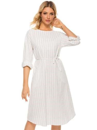 Casual Loose Stripe Lacing Long sleeve Round neck Maxi Dresses