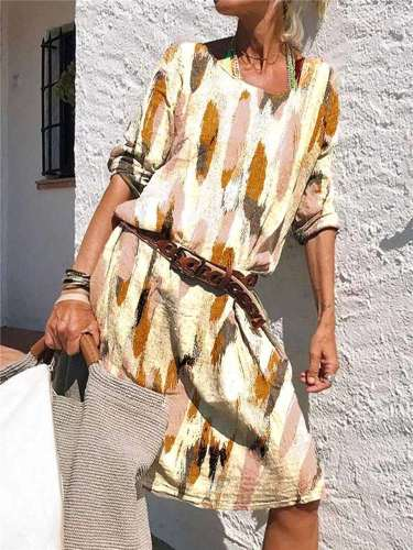 Fashion Casual Print Round neck Long sleeve Maxi Dresses
