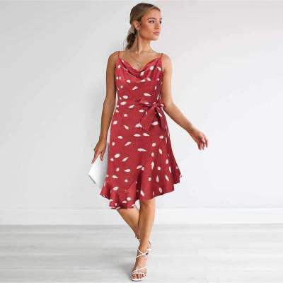 Casual Leafage print V neck Vest Sleeveless Lacing Shift Dresses