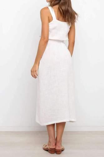 Casual Pure Vest Fastener Vent Lacing Skater Dresses