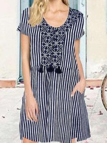 Casual Loose Stripe Round neck Short sleeve Shift Dresses