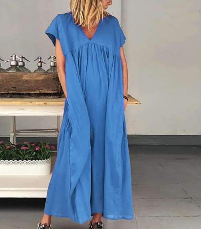 Casual Loose Pure V neck Short sleeve Gored Pocket Maxi Dresses