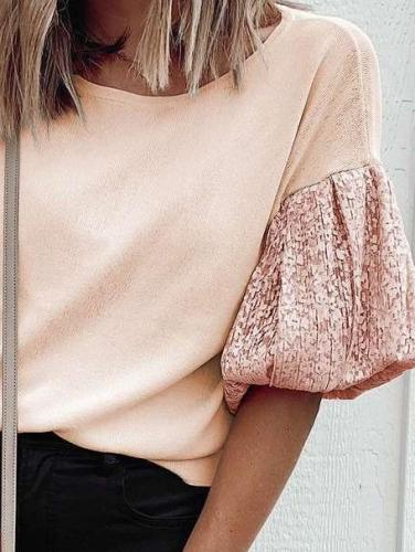 Casual Loose Round neck Gored Short sleeve T-Shirts