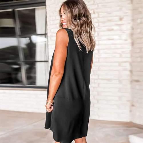 Wome Casual Pure V neck Sleeveless Shift Dresses