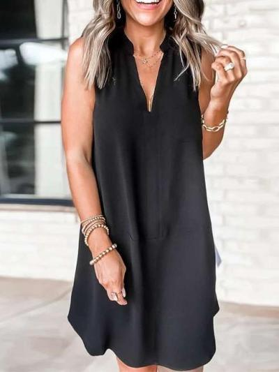 Wome Casual Pure V neck Sleeveless Shift Dresses