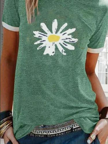 Summer Printed Short Sleeve Crew Neck Top T-shirts